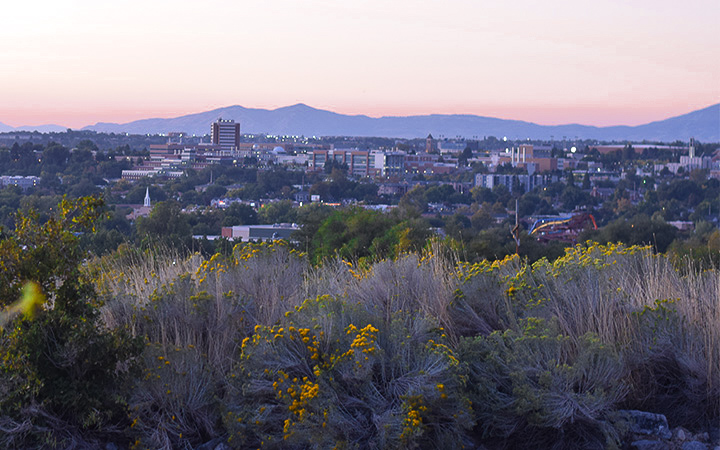Provo, Utah at Sunset from Slate Canyon Road